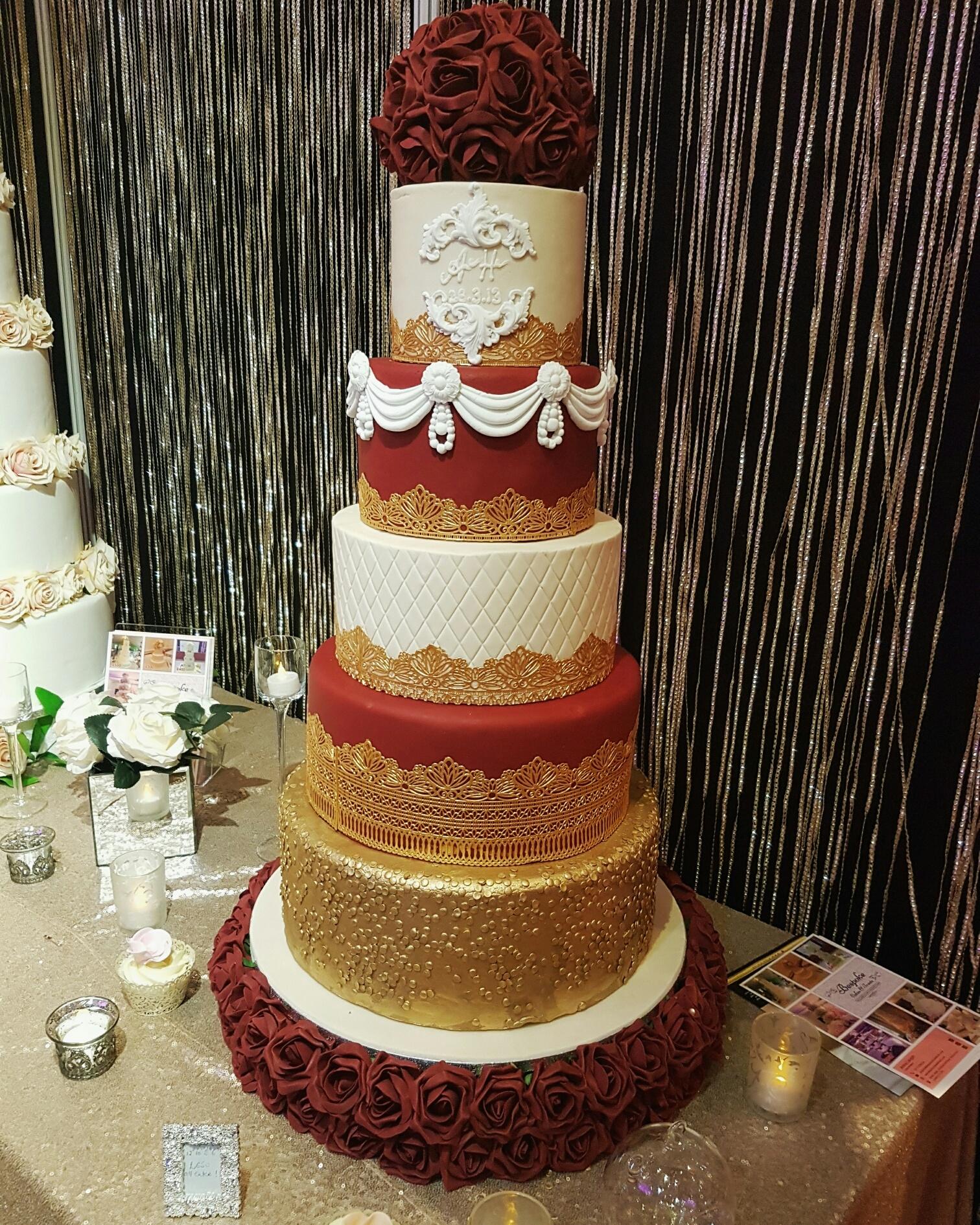 Gold Wedding Cakes: Bollywood Red & Gold Wedding Cake